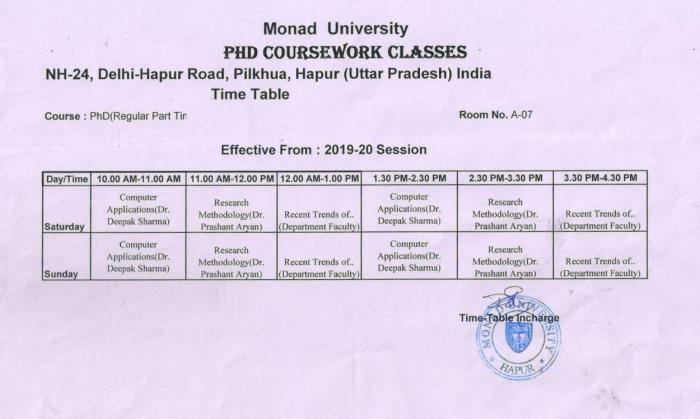 Ph.D Course Work Classes Time Table