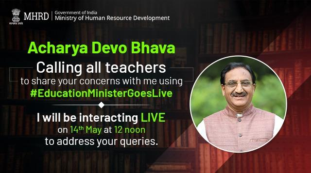 The Webinar will be held on May 14 at 12 pm & Teachers and Educators can share their questions with the minister using the hashtag '#EducationMinisterGoesLive'.